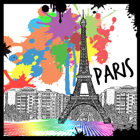 tower: Vintage view of Paris on the grunge poster with colored splash, vector illustration