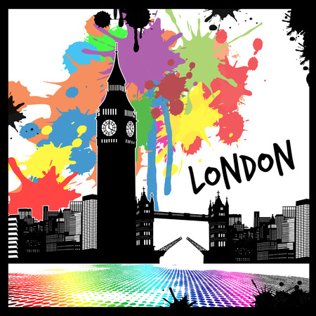 london tower bridge: Vintage view of London on the grunge poster with colored splash, vector illustration