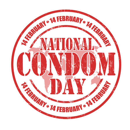 condom: National Condom Day grunge rubber stamp on white, vector illustration