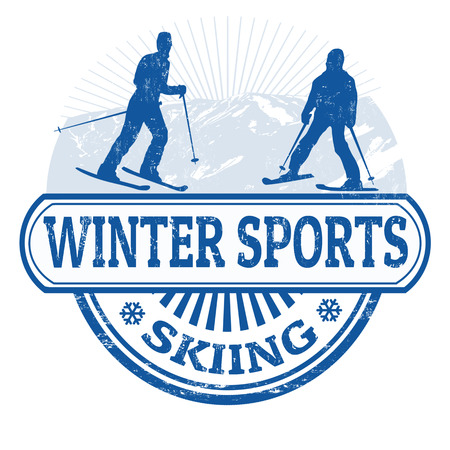 Winter sports skiing grunge rubber stamp on white, vector illustration Vector