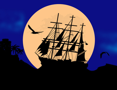 Boat floating on the ocean in front of a very big  full moon by bue night, vector illustration