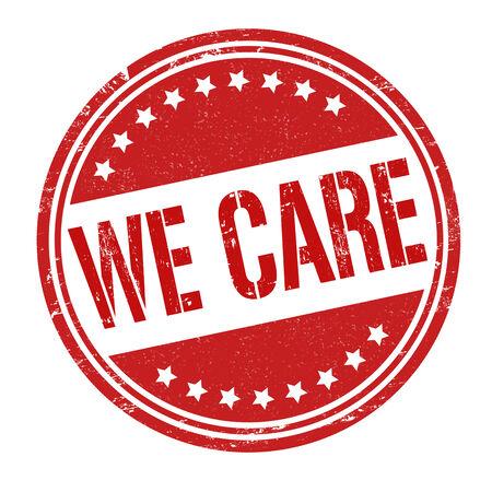 we: We care grunge rubber stamp on white, vector illustration