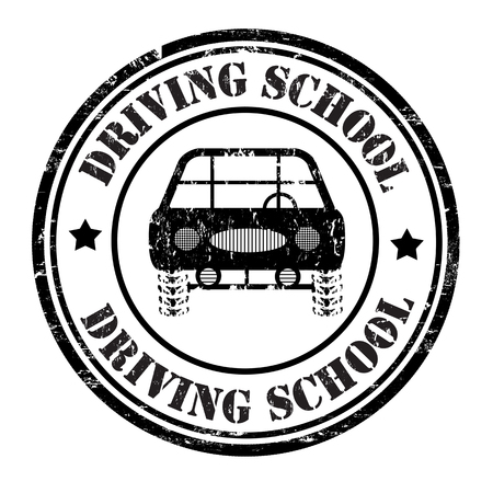 driving school: Driving school grunge rubber stamp on white, vector illustration