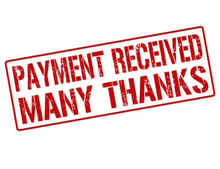 Payment received many thanks grunge rubber stamp on white, vector illustration Vector