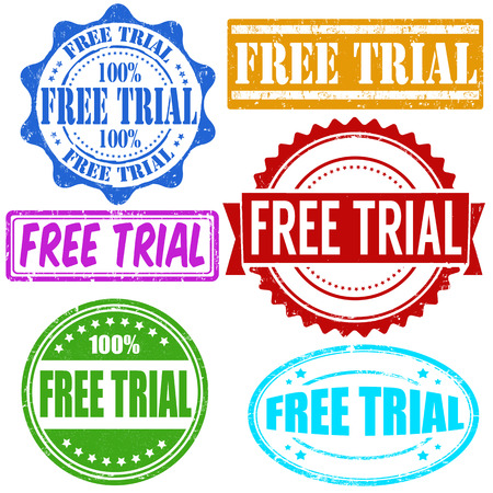 trial: Free trial vintage grunge rubber stamps set on white, vector illustration