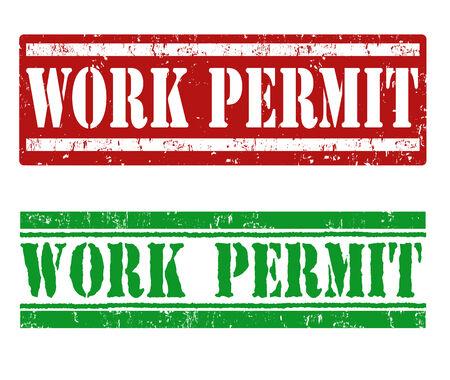permit: Work permit grunge rubber stamp on white, vector illustration Illustration