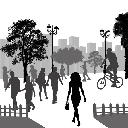 Outdoor recreation, people in the city park, vector illustration Illustration