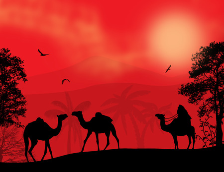 Abstract colorful background with bedouin and camels during the red night , vector illustration Vector