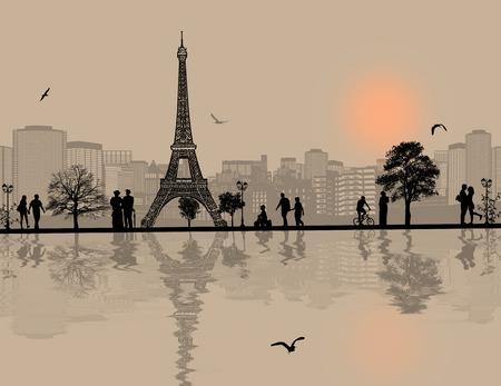 ilustracion: Vector de diseño de fondo con el paisaje urbano de París y la silueta de personas con la reflexión sobre el agua Vectores