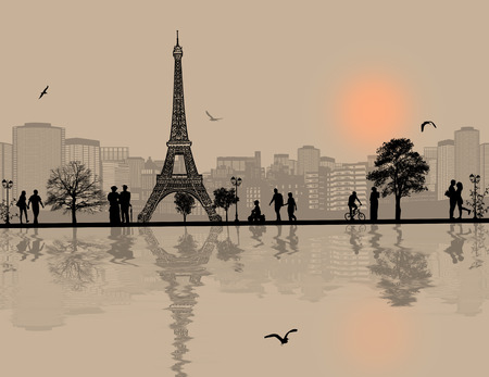 horizon reflection: Vector design background with Paris cityscape and people silhouette with reflection on water