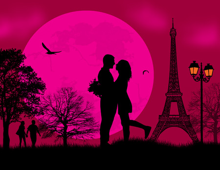 couple kiss: Lovers in Paris on romantic red sunset background, vector illustration Illustration