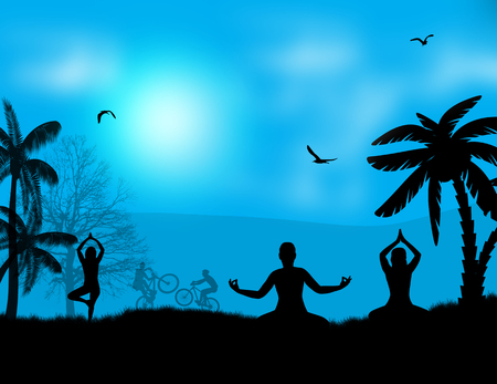 Vector illustration of yoga meditation silhouettes at blue sunset landscape background Vector