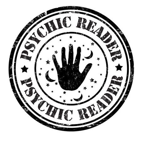 Psychische lezer grunge rubberen stempel op wit, vector illustratie