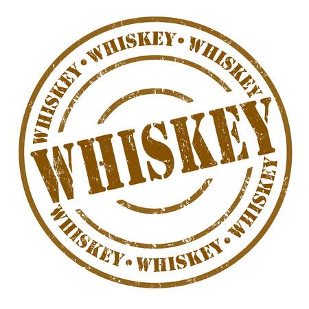 distillery: Whiskey grunge rubber stamp on white, vector illustration
