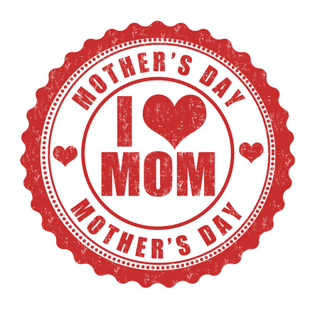 Grunge Mothers day rubber stamp on white, vector illustration Vector