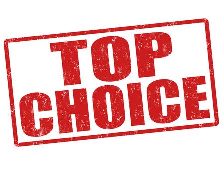 premier: Grunge Top choice rubber stamp on white, vector illustration Illustration