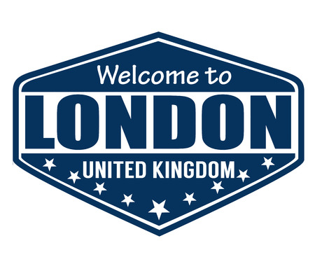 Welcome to London travel label or stamp on white, vector illustration Vector