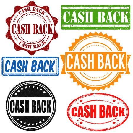 Cash back vintage grunge rubber stamps set on white, vector illustration Çizim
