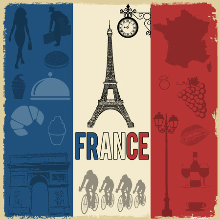 France travel grunge seamless pattern with national french sights, map and flag, vector illustration