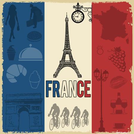 Reizen grunge Frankrijk naadloze patroon met nationale franse bezienswaardigheden, kaart en vlag, vector illustratie