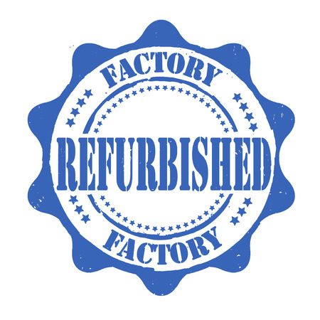 replacing: Factory refurbished grunge rubber stamp on white, vector illustration