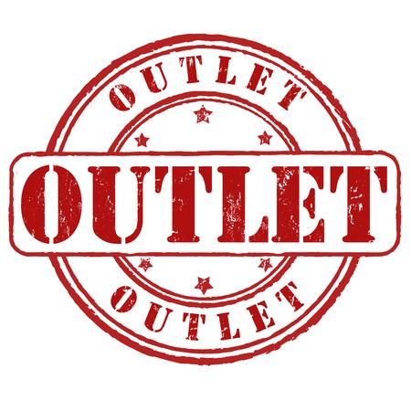 toma corriente: Outlet grunge sello de goma en blanco, ilustraci�n vectorial