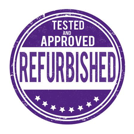 refurbished: Refurbished grunge rubber stamp on white, vector illustration