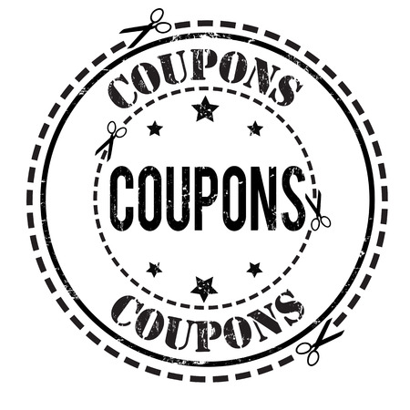 coupons: Coupons grunge rubber stamp on white, vector illustration Illustration