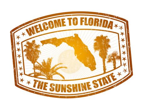 Bienvenue sur timbre Voyage Floride sur fond blanc, illustration vectorielle