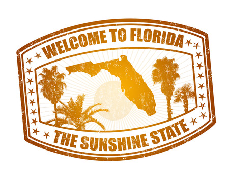 florida: Welcome to Florida travel stamp on white, vector illustration