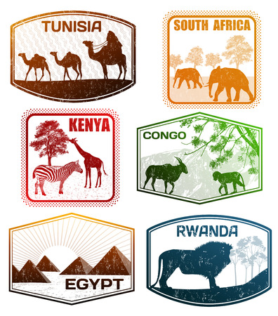 Stylized passport grunge rubber stamps of various African countries, vector illustration 向量圖像