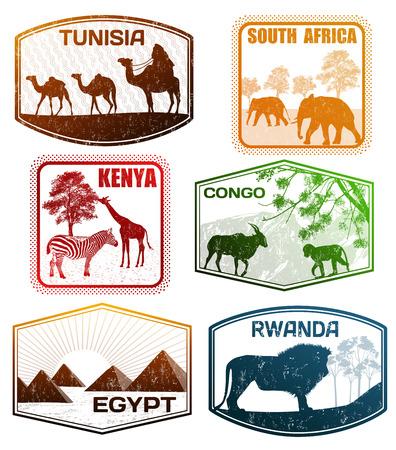 timbre voyage: Tampons en caoutchouc grunge de passeport stylisé de divers pays africains, illustration vectorielle