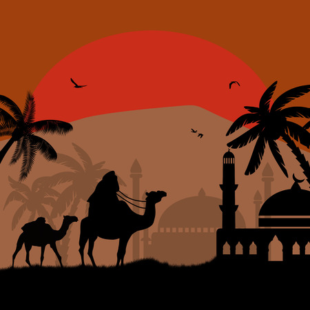 Abstract colorful background with bedouin riding camel during the red night , vector illustration Vector