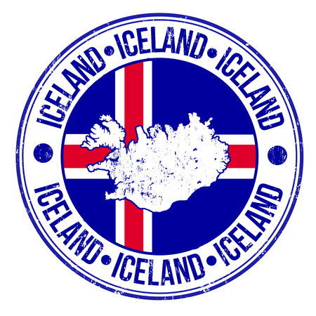 imprinted: Grunge rubber stamp with iceland flag, map and the word Iceland written inside, vector illustration