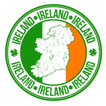 グランジ ゴム製スタンプとアイルランド フラグ、マップ内に記述されたアイルランド語、ベクトル イラスト