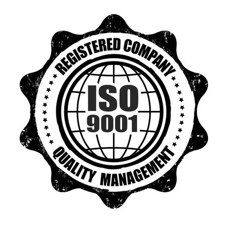 iso: ISO 9001 grunge rubber stamp on white, vector illustration