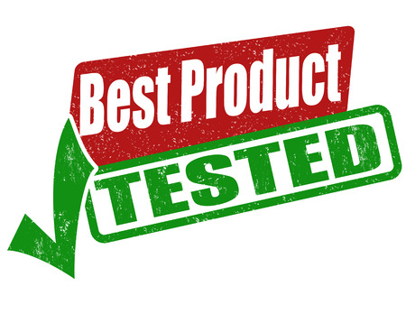 passed: Best product, tested grunge rubber stamp on white, vector illustration