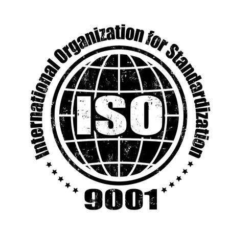accepted label: ISO 9001 grunge rubber stamp on white, vector illustration