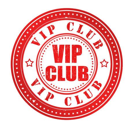 Vip club grunge rubber stamp on white, vector illustration