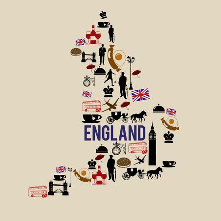 symbol british: England landmark map silhouette icon on retro background, vector illustration Illustration