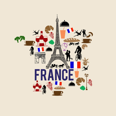 symbol tourism: France landmark map silhouette icon on retro background, vector illustration Illustration