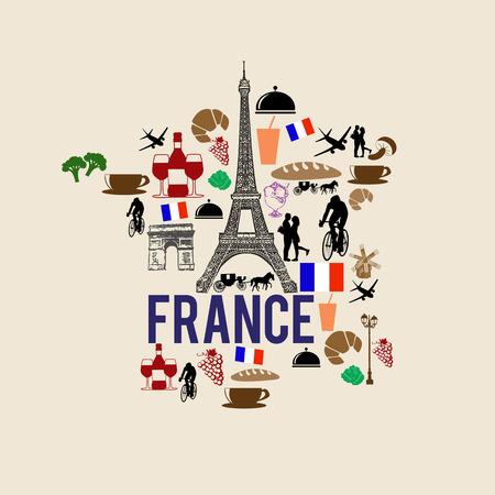 Frankrijk oriëntatiepunt kaart silhouet pictogram op retro achtergrond, vector illustratie