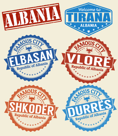 albania: Set of grunge rubber stamps with names of Albania cities, vector illustration