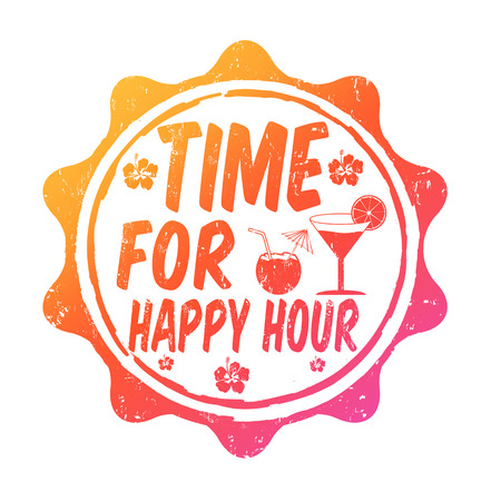 Time for happy hour grunge rubber stamp on white, vector illustration Vector