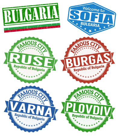 Set of grunge rubber stamps with names of Bulgaria cities, vector illustration Illustration