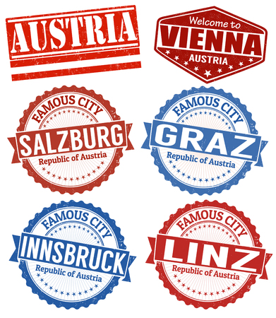 Set of grunge rubber stamps with names of Austria cities, vector illustration Vector