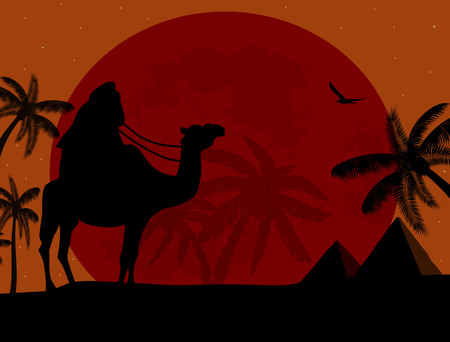 Bedouin on camel against over pyramids on sunset, vector illustration Vector
