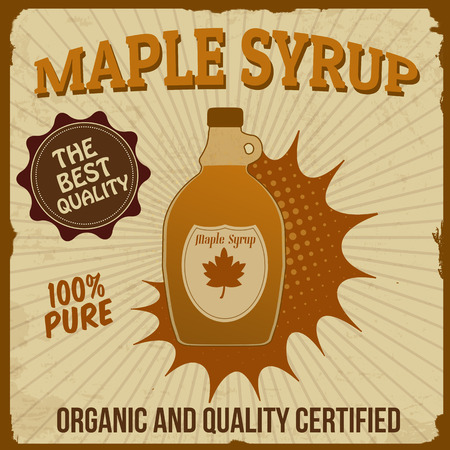 canada stamp: Maple syrup poster in vintage style, vector illustration Illustration
