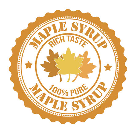 maple syrup: El jarabe de arce sello o etiqueta en blanco, ilustraci�n vectorial Vectores