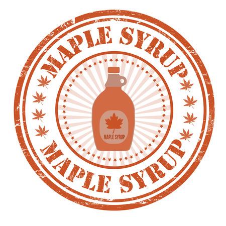 maple syrup: El jarabe de arce grunge sello de goma en blanco, ilustraci�n vectorial Vectores